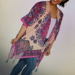 Open Front Printed Wrap with Tassel's Plus